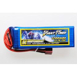 Giant Power battery LIPO 1200mAh 22.2V 25C T-REX450 Pro (GN-LP6S1200-25)