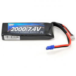 LOSI Batterie Li-po 7,4V 2S 1650mA 20C,prise EC2, long (LOSB9835)