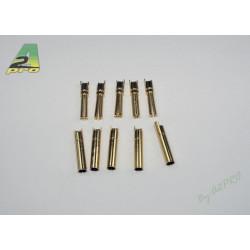 Contact 4mm plaqué OR 18 carat mâle et femelle (5 paires) (14420)