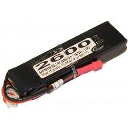 Batterie LiPo Xell-TX 2S 7.4V - 2600mAh 3C - Mini-Deans + emetteur Hitec (SAF08119)