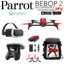 Pack FPV Bebop 2 Drone ROUGE + Cockpitglasses + Skycontroller V2 + Sac de transport Offert