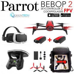 Pack PARROT FPV Bebop 2 Drone Rouge Cockpitglasses + Skycontroller V2 + 2x Batteries Inclus+ Sac rangement