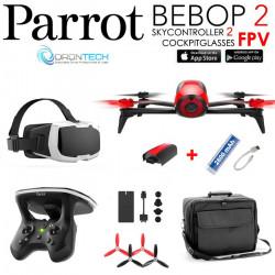 Pack FPV Bebop 2 Drone ROUGE + Cockpitglasses + Skycontroller V2 + Sac de transport + Power Bank