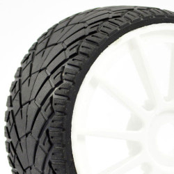 FASTRAX 1/8TH PREMOUNTED BUGGY TYRES INTER TREAD/12 SPOKE