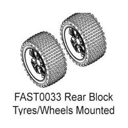 FASTRAX 1/10 RR BLOCK TYRE ON 10-SPOKE WHITE WHEELS (ENRAGE)