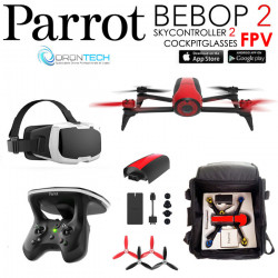 Pack FPV Bebop 2 Drone ROUGE + Cockpitglasses + Skycontroller V2 + Batterie Rouge + Power Bank