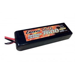 Gens ace 7600mAh 7.4V 25C 2S2P Lipo Battery with Original TRX Connector (B-25C-7600-2S2P-TRX)