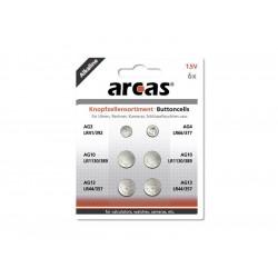 Pack de 6 piles bouton Arcas AG3-AG13 0% Mercury/Hg