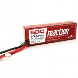 Reaction 7.4V 5000mAh 2S 50C LiPo, Hardcase: Deans (DYNB3802D)