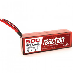 Reaction 11.1V 5000mAh 3S 50C LiPo, Hardcase:Deans (DYNB3803D)