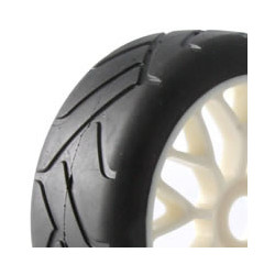 FASTRAX 1/8TH PREMOUNTED SLICK TYRES GRID IRON/Y-DESIGN