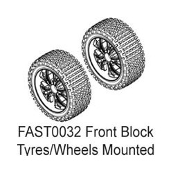 FASTRAX 1/10 FR BLOCK TYRE ON 10-SPOKE WHITE WHEELS (ENRAGE)