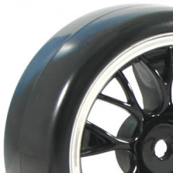 FASTRAX 1/10 STREET/DRIFT YSP BLACK/CHROME WHEEL and V2 TYRE
