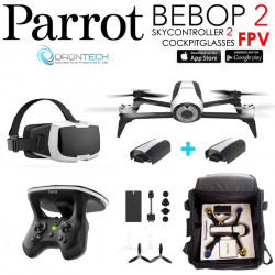 Pack FPV Bebop 2 Drone BLANC + Cockpitglasses + Skycontroller V2 + Batterie Blanche + Power Bank