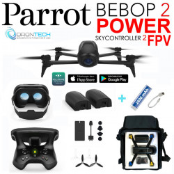 Drone Bebop 2 POWER Pack FPV avec 2 Batteries +Sac de transport Zippé+ Batterie externe de secours